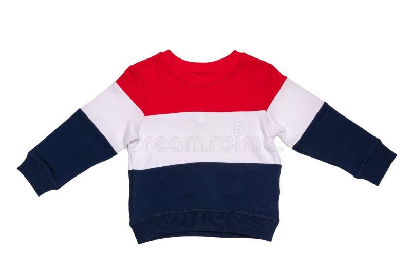 Wiosny i jesieni dzieci odziewają Czerwony biały błękit paskował wygodnego ciepłego pulower lub pulower odizolowywających na biał obrazy royalty free