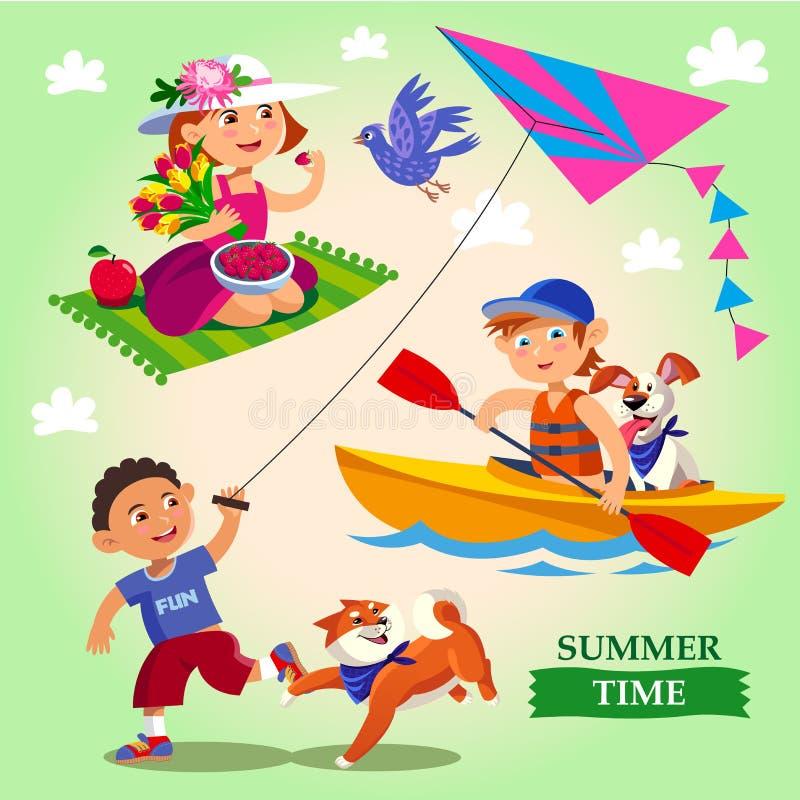 Wiosny i lata dziecka plenerowe aktywność ilustracja wektor