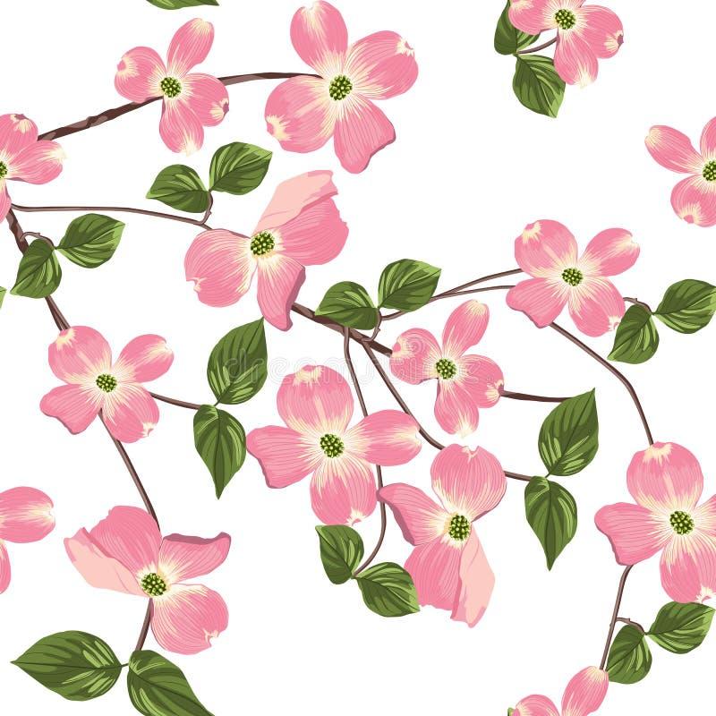 Wiosny jesień kwitnie bezszwowego wzór Akwareli stylowy kwiecisty tło ilustracja wektor