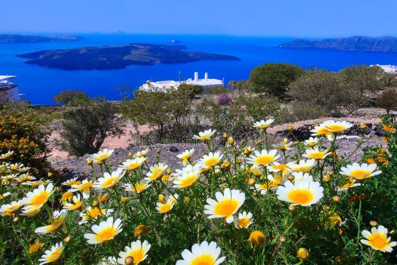 Wiosny kaldera i wulkan, Santorini, Grecja zdjęcia stock