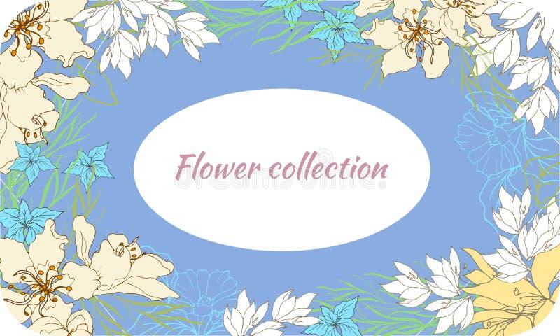 Wiosny karta z delikatnymi kwiatami na błękitnym tle Rama dla teksta, powitań i życzeń, ilustracyjny lelui czerwieni stylu roczni royalty ilustracja