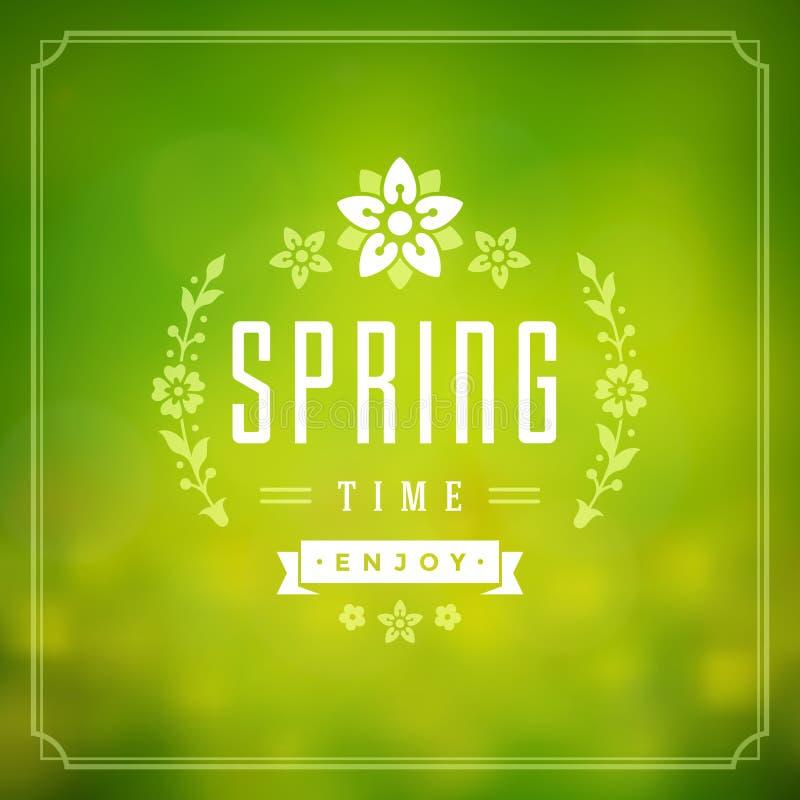 Wiosny kartka z pozdrowieniami lub plakata Wektorowy Typograficzny projekt ilustracja wektor