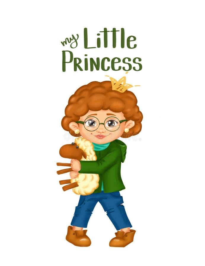 Wiosny klamerki sztuki ręka rysująca dziewczyna trzyma cakle z kędzierzawym włosy w szkłach bawi się dla wiosny kartki z pozdrowi royalty ilustracja