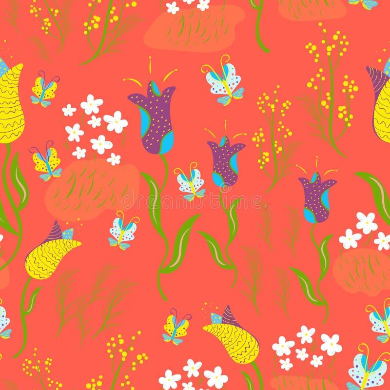 Wiosny kwiecisty bezszwowy z tulipanami, mimoza, pierwiosnki, motyle na żywym koralowym tle ilustracja wektor