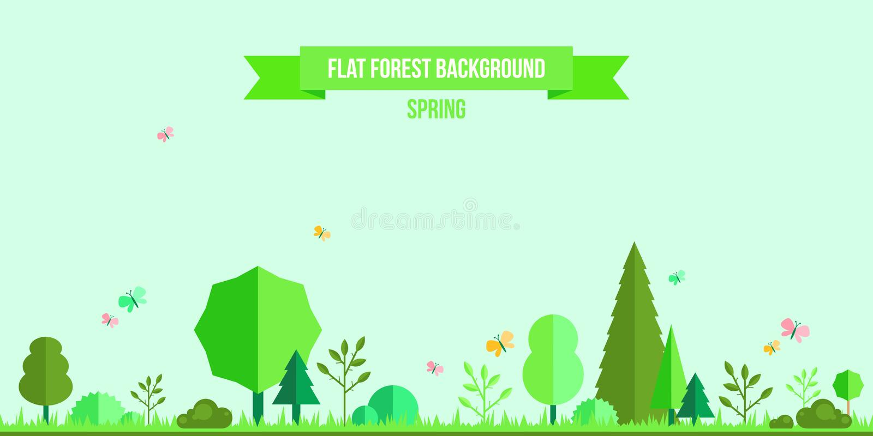 Wiosny lasowy płaski tło ilustracja wektor