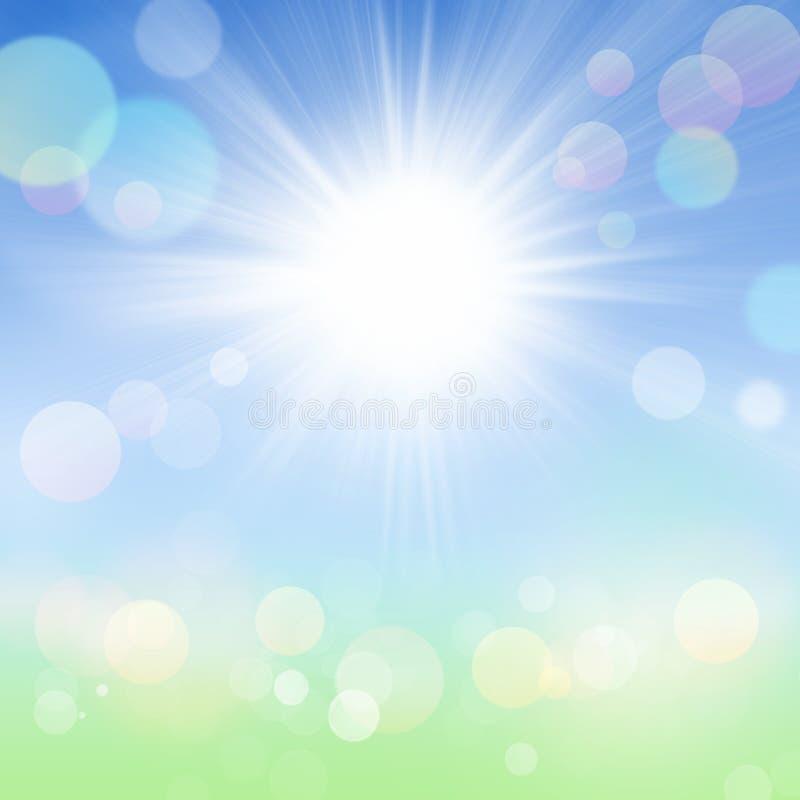 Wiosny lata Bokeh tło z słońcem, niebieskim niebem i Zieloną trawą, ilustracji