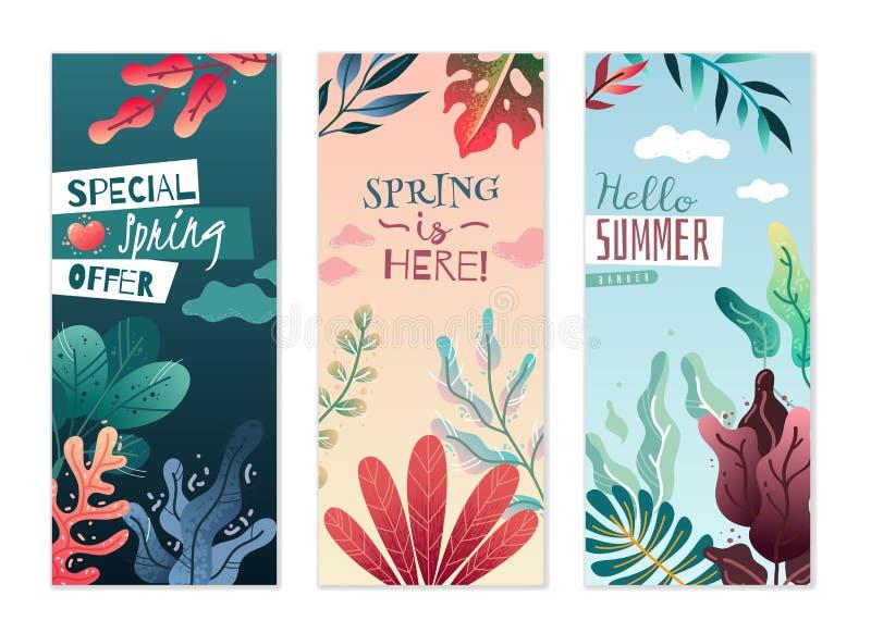 Wiosny lata dekoracyjni pionowo sztandary Przyjemni kolory i delikatni gradienty ilustracja wektor