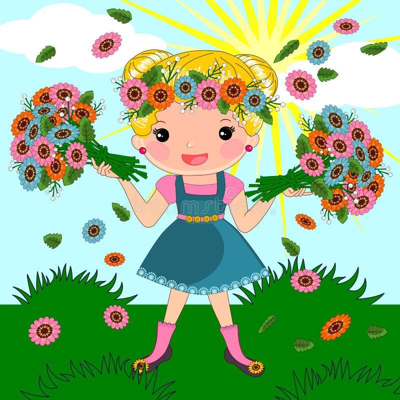 Wiosny lata dziewczyna royalty ilustracja