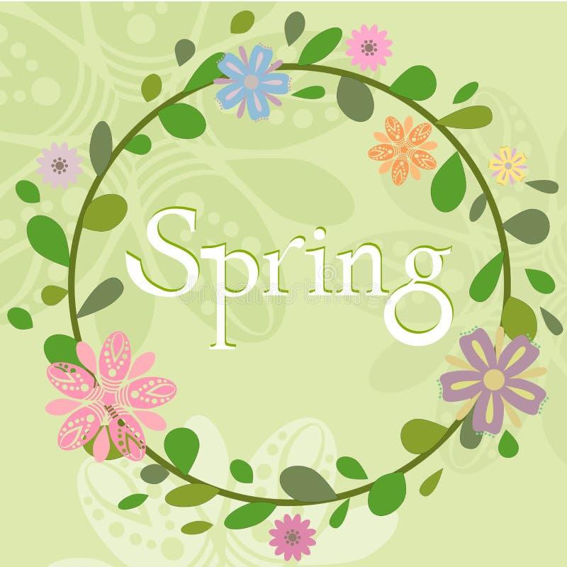 Wiosny lata wianku szablon royalty ilustracja