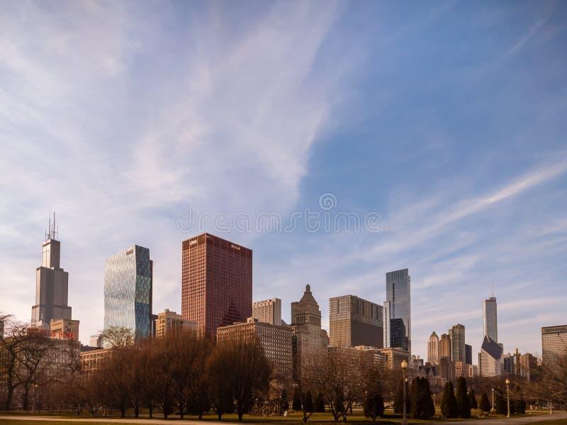 Wiosny linia horyzontu w Grant parku, Chicago zdjęcia stock