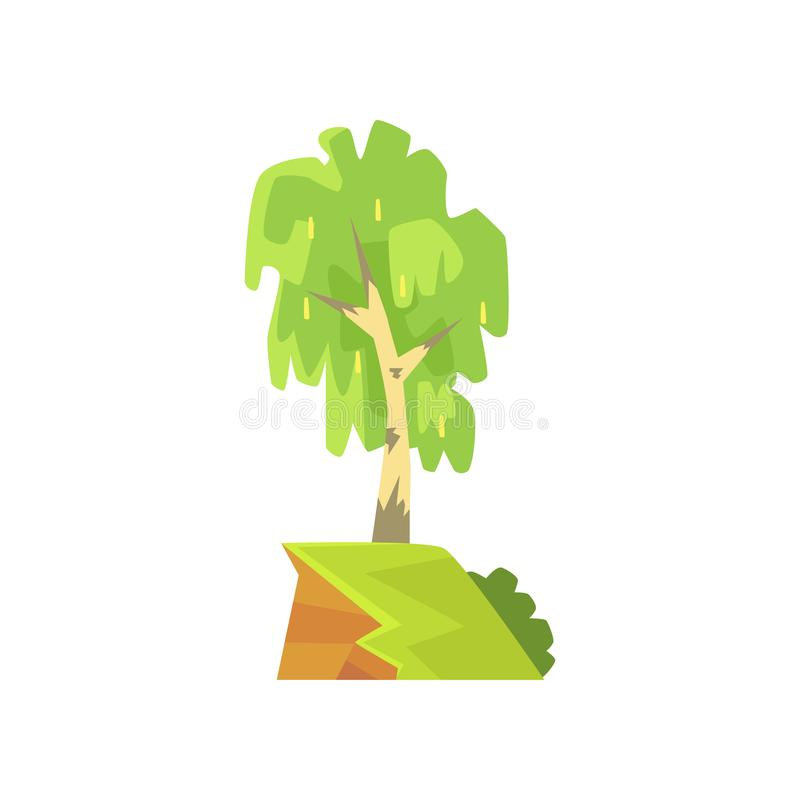 Wiosny lub lata krajobrazowa scena z brzozą na skraju Deciduous drzewo z zielonym ulistnieniem Ręka rysujący lasowy projekt ilustracji