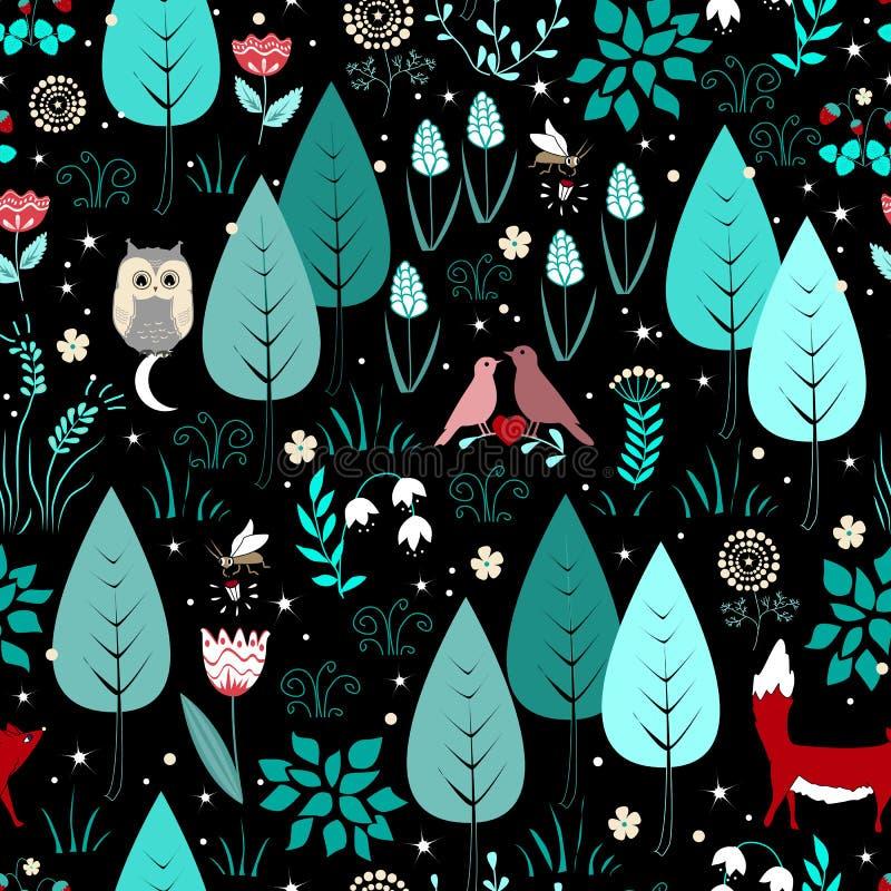 Wiosny lub lata wzór z, Śliczny magiczny lasowy tło ilustracja wektor