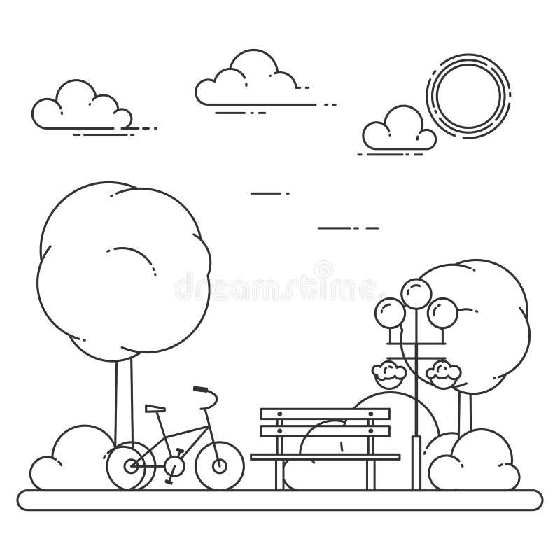 Wiosny miasta krajobraz z ławką, bicykl w centrala parku również zwrócić corel ilustracji wektora Kreskowa sztuka royalty ilustracja