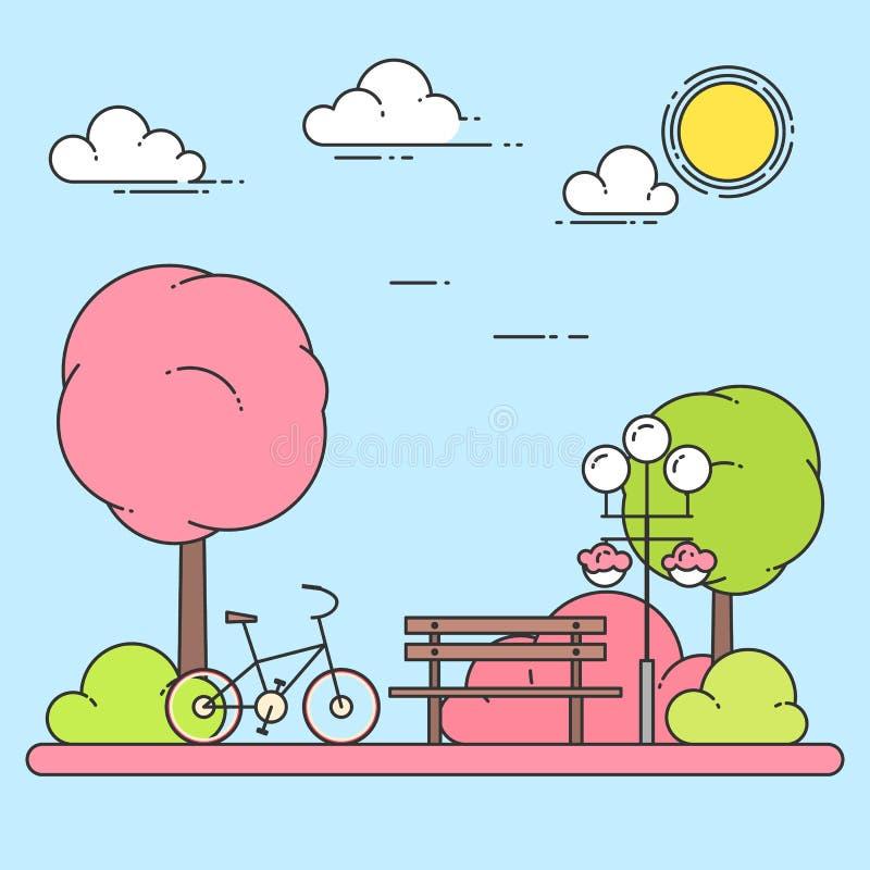 Wiosny miasta krajobraz z ławką, bicykl w centrala parku również zwrócić corel ilustracji wektora Kreskowa sztuka ilustracja wektor