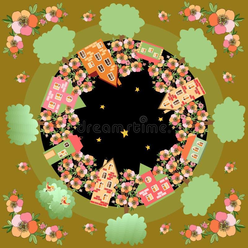 Wiosny noc Karta z pięknym miastem otaczającym kwiatonośnymi drzewami ilustracji