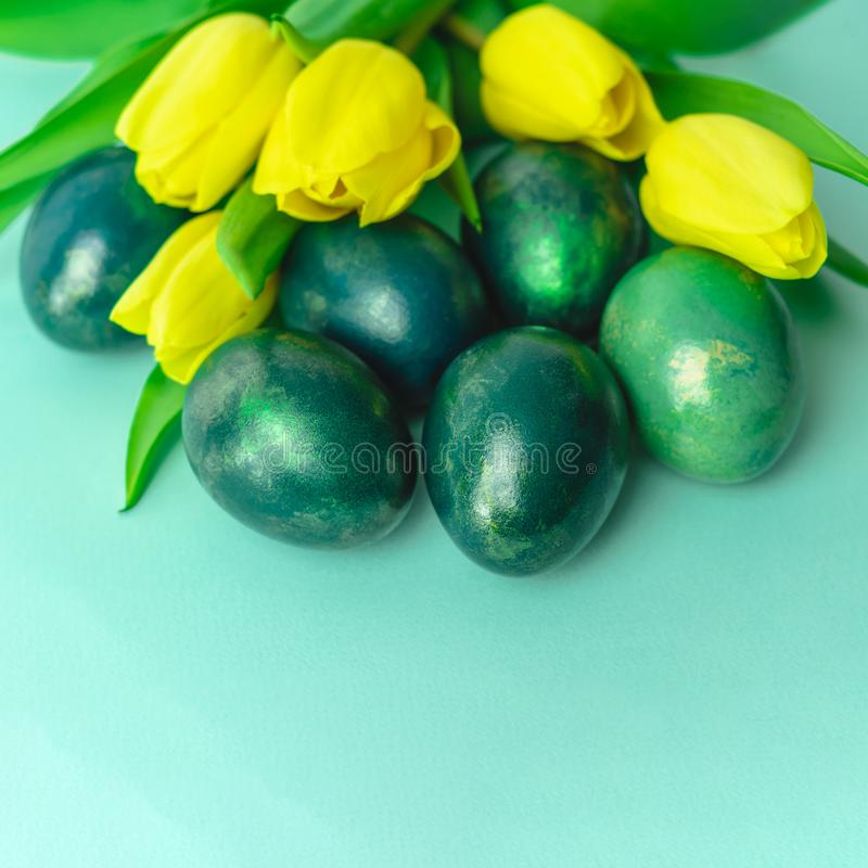 Wiosny pojęcie z Wielkanocnymi jajkami i żółtymi tulipanami na turkusowego błękita tle kosmos kopii obraz royalty free