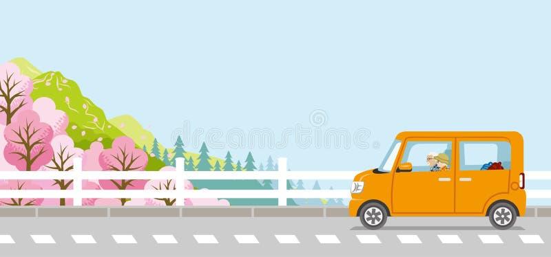 Wiosny przejażdżka, Starsza para, anonimowość royalty ilustracja