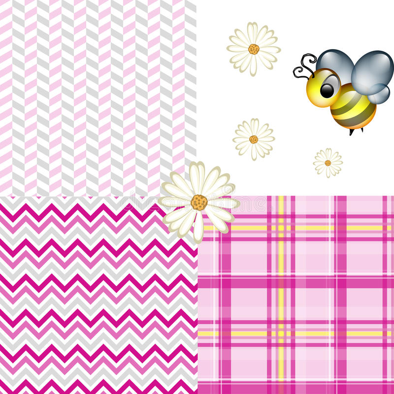 Wiosny pszczoły szewronu szkockiej kraty Herringbone wzorów menchie ilustracja wektor