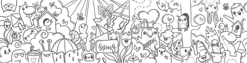 Wiosny ręka rysująca doodles sztandar kreskówki wiosna ilustracji
