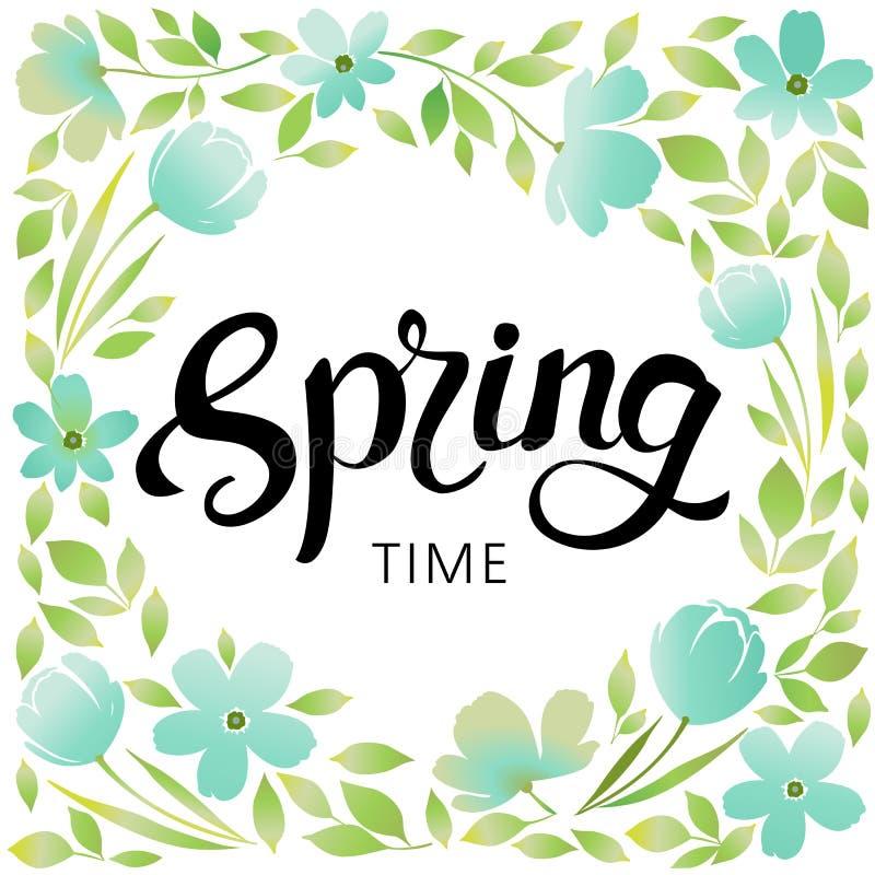 Wiosny rama kwiaty i liście Wiosna delikatni pastelowi kolory Projekt dla plakata, karta, zaproszenie, plakat, broszurka ilustracji