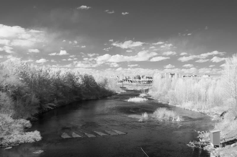 Wiosny rzeka Miass jest pod Shershnevskaya tam? obraz royalty free