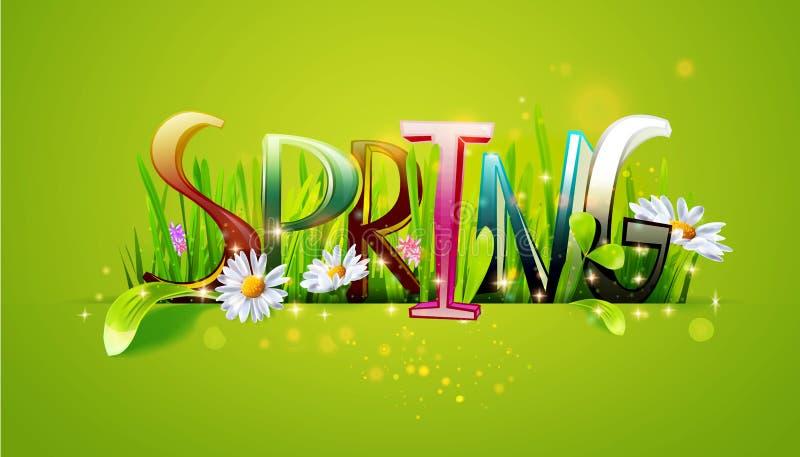 Wiosny słowa kwiecisty sztandar royalty ilustracja