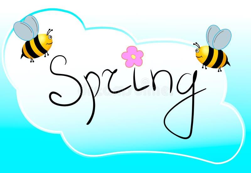 Wiosny słowo, kwiaty i pszczoła wektor, Wektor eps ilustracja wektor