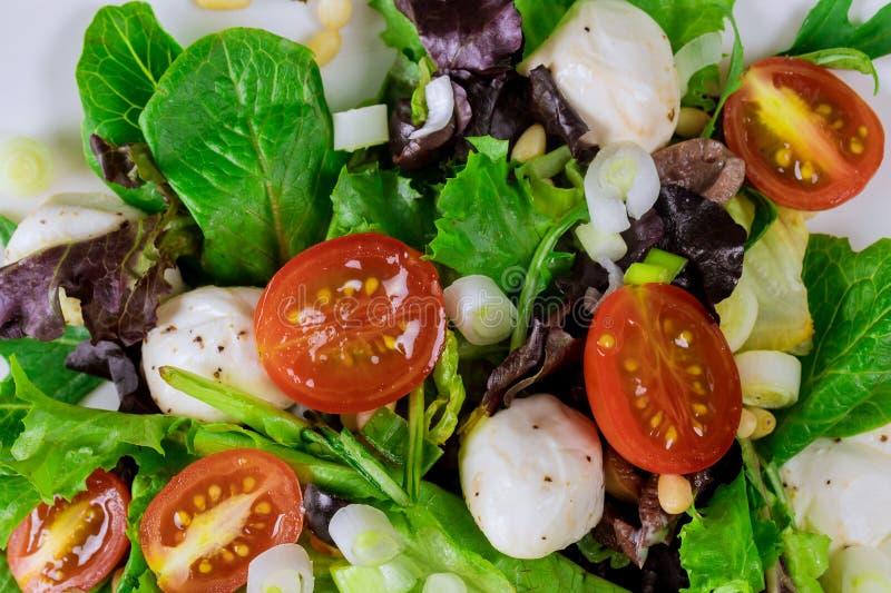 Wiosny sałatka z czereśniowym pomidorem, mozzarellą i oliwą z oliwek w talerzu, obrazy stock