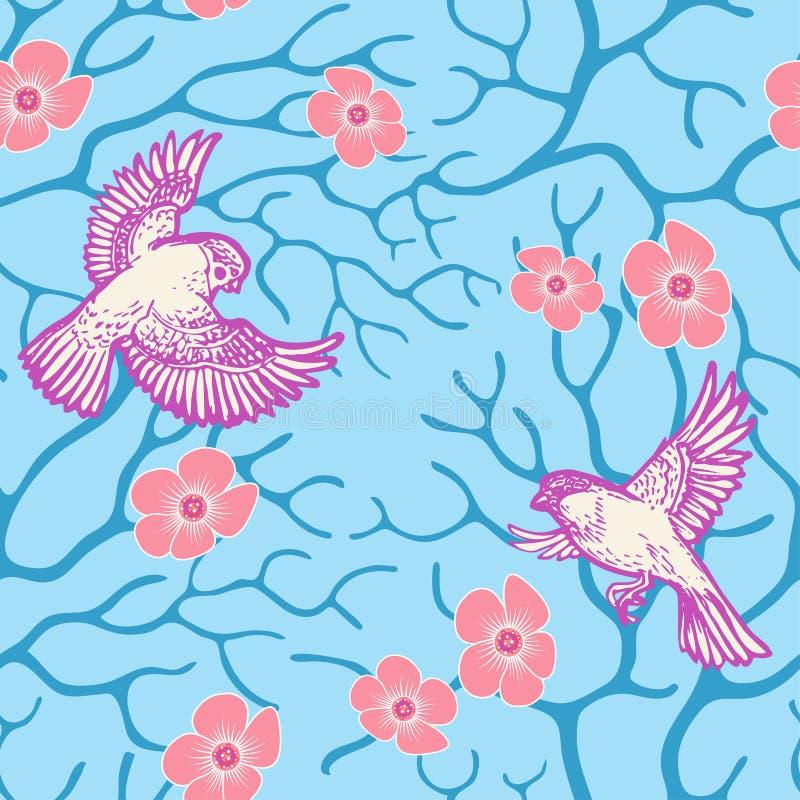 Wiosny Sakura okwitnięcie, latający ptaki i ilustracja wektor