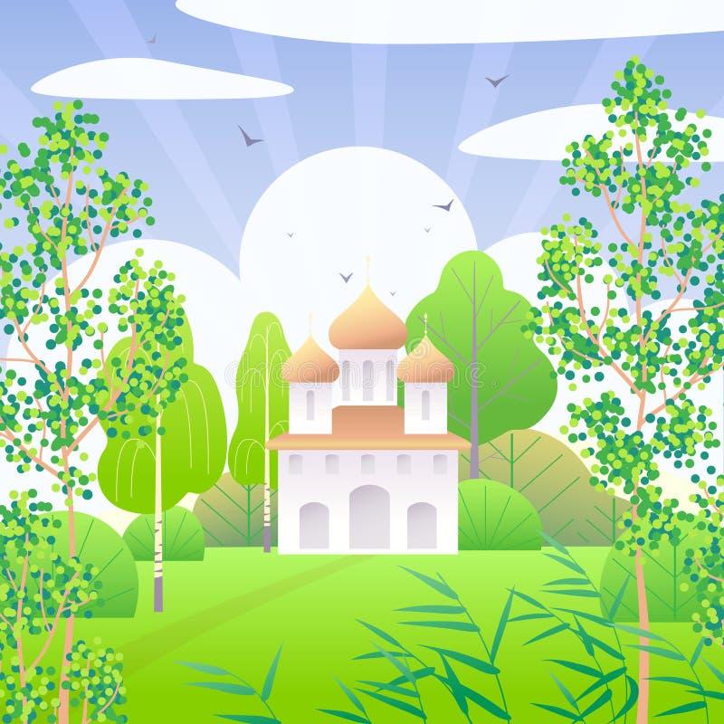Wiosny scena z kościół i zieleni drzewami ilustracja wektor