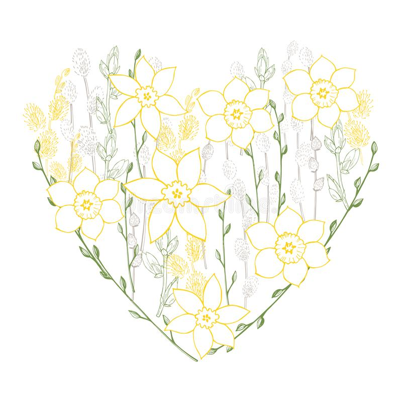 Wiosny serce również zwrócić corel ilustracji wektora ilustracja wektor
