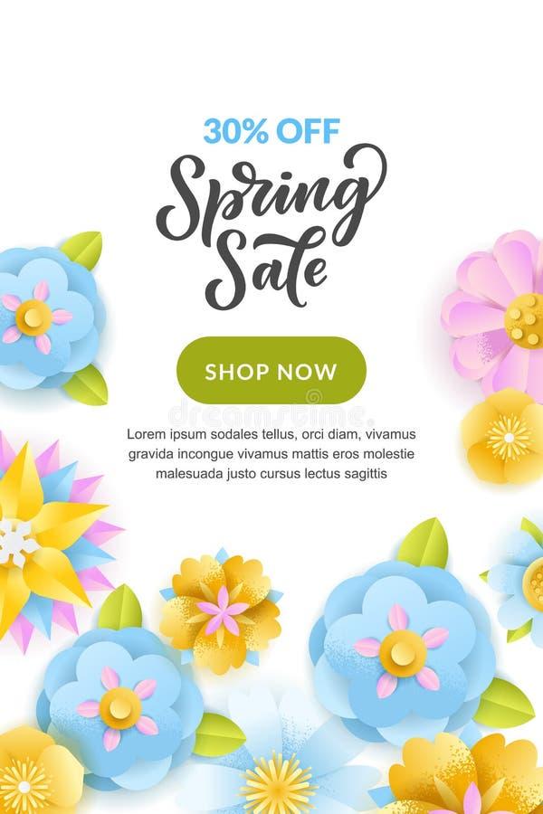 Wiosny sprzedaży pionowo sztandar lub plakatowy projekta szablon Wektorowa ilustracja papier warstew kwiaty kolor tła wakacje cze ilustracji