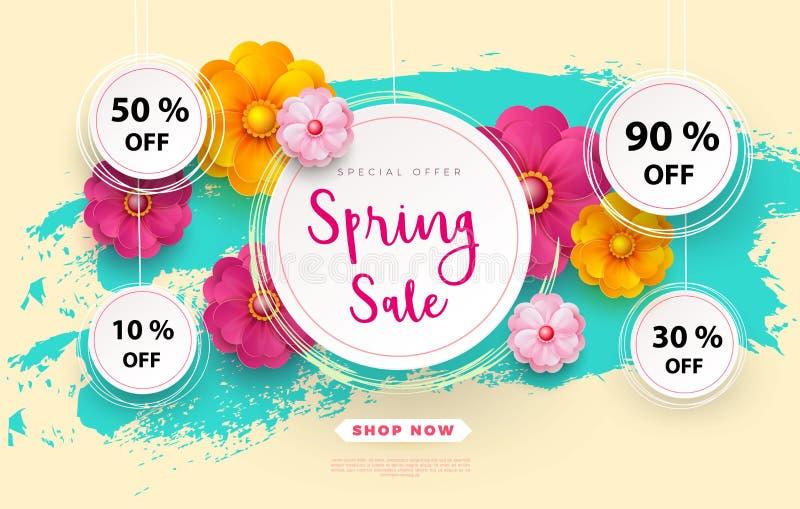 Wiosny sprzedaży s sztandaru szablon z papierowym kwiatem na kolorowej backgruond ilustraci royalty ilustracja