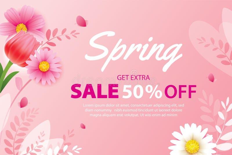 Wiosny sprzedaży sztandar z kwitnieniem kwitnie tło szablon Projekt dla reklamować, ulotki, plakaty, broszurka, zaproszenie, ilustracja wektor