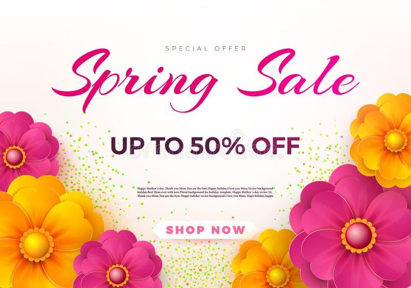 Wiosny sprzedaży sztandaru szablon z papierową wiosną kwitnie dla online kobieta zakupy, wektorowa ilustracja Wiosny sprzedaż mie royalty ilustracja