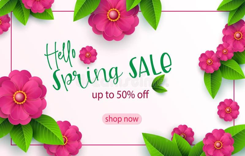 Wiosny sprzedaży sztandaru szablon z papieru rżniętym kwiatem dla online kobieta zakupy, wektorowa ilustracja Wiosny sprzedaż Mie ilustracji