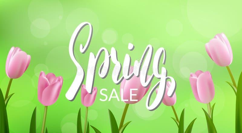 Wiosny sprzedaż Sztandar z kaligrafią i kwiaty dla sezonowej sprzedaży ilustracja wektor