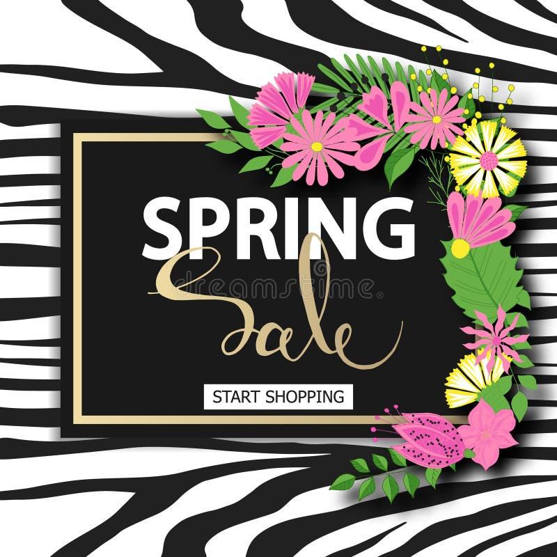 Wiosny sprzedaż z piękna ręka rysującymi kwiatami Wektorowy ilustracyjny szablon, sztandary Tapeta, ulotki, zaproszenie ilustracji