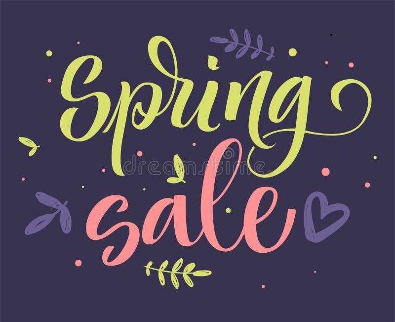 Wiosny sprzedaży kolorowa kaligrafia ilustracja wektor