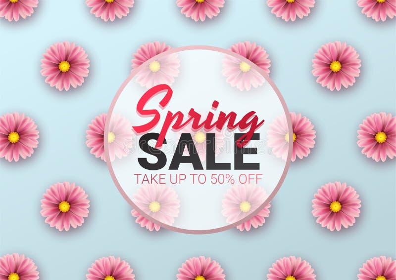 Wiosny sprzedaży kwiecisty reklamowy plakat, deska Sztandar z realistycznymi kwiatami również zwrócić corel ilustracji wektora ilustracja wektor