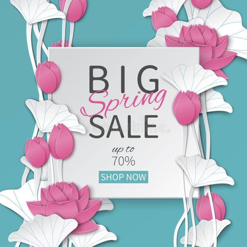 Wiosny sprzedaży kwiecisty szablon z papier ramą i kwitnienie różowymi lotosowymi kwiatami na błękitnym tle dla sztandaru ilustracji