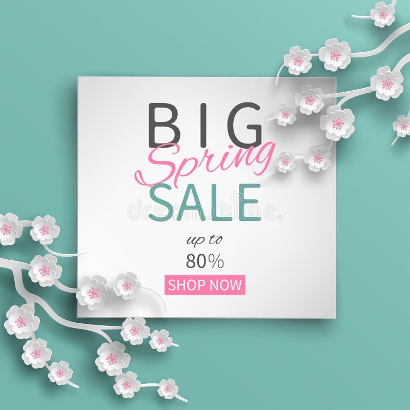 Wiosny sprzedaży kwiecisty szablon z papieru cięcia ramą i kwitnienie różową wiśnią kwitnie ilustracja wektor