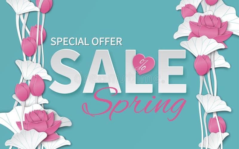 Wiosny sprzedaży kwiecisty szablon z papieru kwitnienia rżniętych menchii lotosowymi kwiatami na błękitnym tle dla sztandaru ilustracji