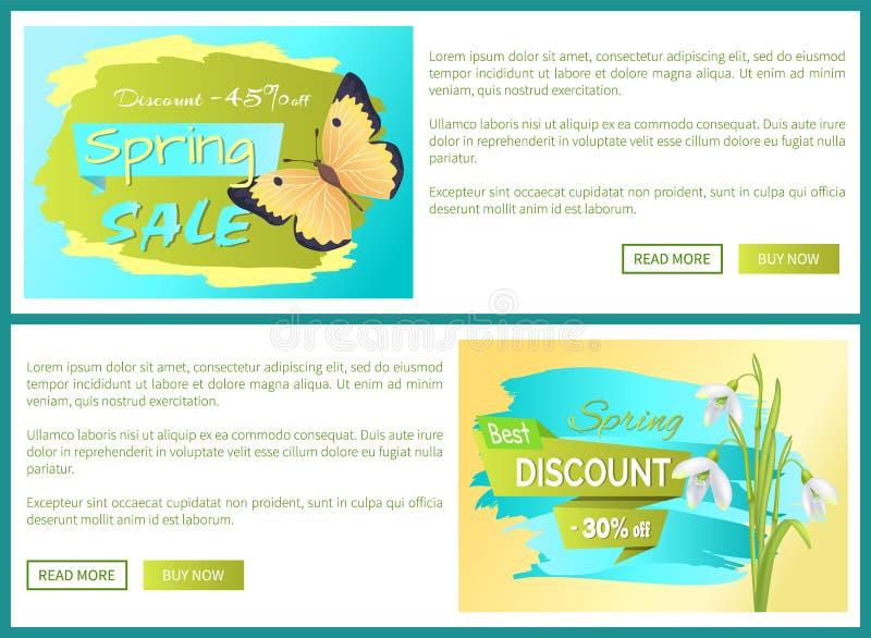Wiosny sprzedaży plakata rabata koloru motyli sieć royalty ilustracja