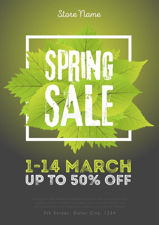 Wiosny sprzedaży plakatowy szablon z liśćmi i ramą w zielonym czarnym tle również zwrócić corel ilustracji wektora ilustracji