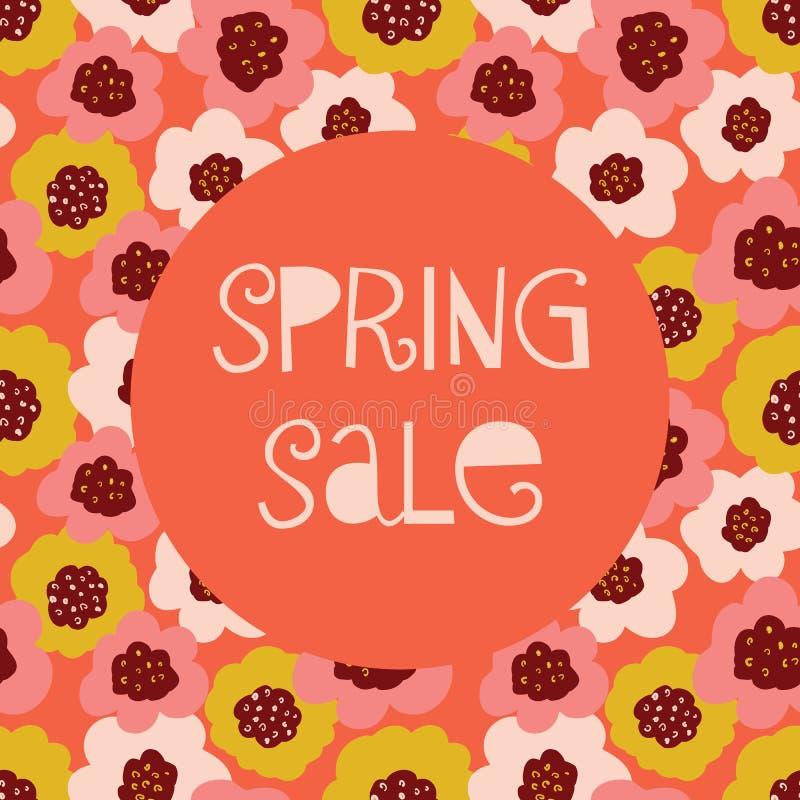 Wiosny sprzedaży plakatowy wektorowy szablon z kolorowym kwiecistym tłem Koral, złoto, beżowi Skandynawscy doodle kwiaty obciosuj ilustracja wektor