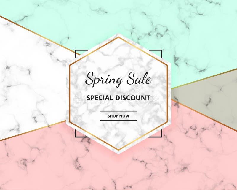 Wiosny sprzedaży pokrywy geometryczny projekt z marmurową teksturą i koloru tłem złocistym błyskotliwości linii, zieleni i menchi ilustracja wektor