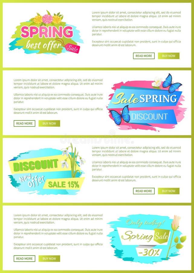 Wiosny sprzedaży reklamy etykietki na sieć plakatach royalty ilustracja