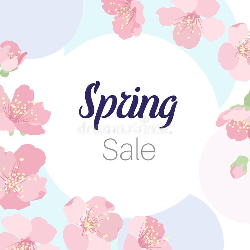 Wiosny sprzedaży Sakura czereśniowego drzewa okwitnięcia kwiaty ilustracja wektor