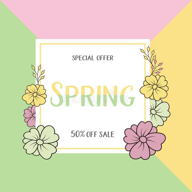 Wiosny sprzedaży sztandarów etykietki plakatowy projekt Projekt z Kolorowymi kwiatami w tle dla Sezonowej promoci samogłoski royalty ilustracja